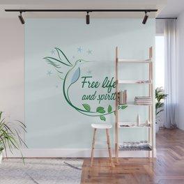 Hummingbird Free Life Quote Wall Mural