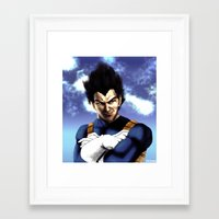 vegeta Framed Art Prints featuring Prince Vegeta by Shibuz4