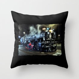 Signaling With Lantern. Lantern Up. UP 9000. Union Pacific. Steam Train Locomotive. © J. Montague. Throw Pillow