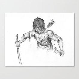 Oni Samurai Wounded Canvas Print