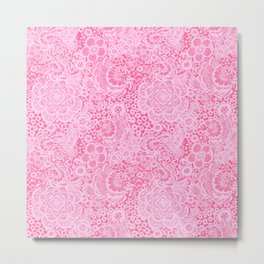 Christmas Pink Lace Doves and Flowers Metal Print
