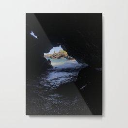 Black Sand Beach Cave Metal Print