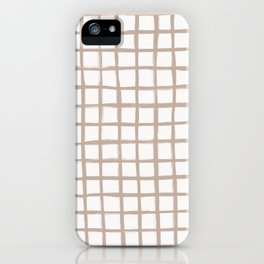 Strokes Grid - Nude on Off White iPhone Case
