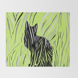 Black House Cat on Grass Throw Blanket