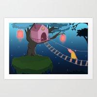 climbing Art Prints featuring Climbing by Loezelot