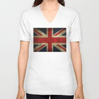 union jack V-neck T-shirts featuring Union Jack by Bethan Eastwood