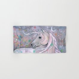 Twinkling Lights Unicorn Fantasy Watercolor Art by Molly Harrison Hand & Bath Towel