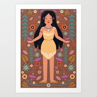 pocahontas Art Prints featuring Pocahontas by Carly Watts