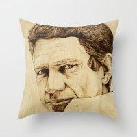 steve mcqueen Throw Pillows featuring Steve McQueen by Farinaz K.