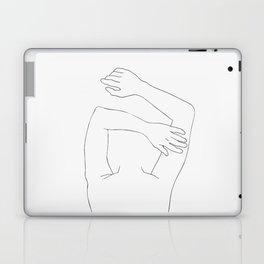 Minimal line drawing of woman sleeping Laptop & iPad Skin
