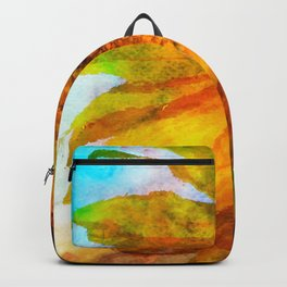 Sunflower on colorful watercolor background - Flowers Backpack
