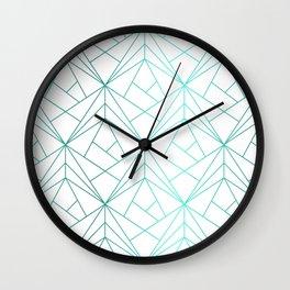 Geometric Turquoise Pattern Wall Clock