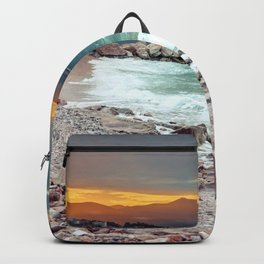 on the beach after the storm, Croatia Backpack