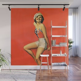 "Pinup by Rolf Armstrong ""Beauty with a Cap"" Wall Mural"