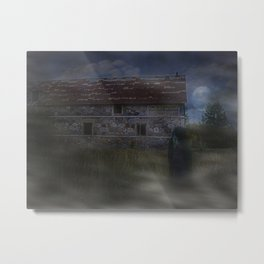 Abandoned Old House and Girl in the Mist, urbex Metal Print