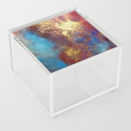 Red, Blue And Gold Modern Abstract Art Painting Acrylic Box