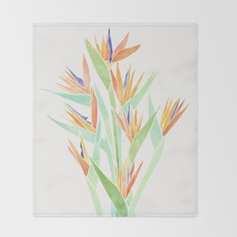 Birds of Paradise ~ tropical bouquet Throw Blanket
