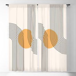 Geometric Lines in Black and Beige 27 (Rainbow and Sun Abstraction) Blackout Curtain
