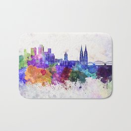 Cologne skyline in watercolor background Bath Mat