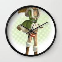 pin up Wall Clocks featuring Pin up by paul drouin
