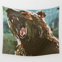 teddy bear Wall Tapestries featuring TEDDY by Tina Yu
