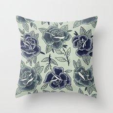 Dozen Roses - Blue Throw Pillow