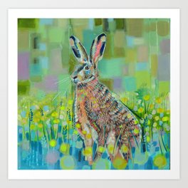 Hare in field Art Print
