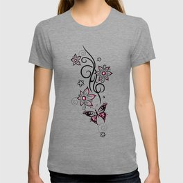 Tattoo tendril with flowers, stars and butterfly T-shirt