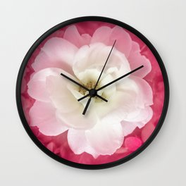 White Rose with Pink Leaves Around Top View Photo Wall Clock