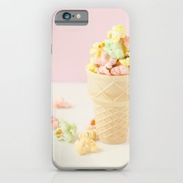 Colorful Popcorn Image, Ice Cream Cone, Photography Print, Sweet Art, Girls Room Decor, Candy Image iPhone Case