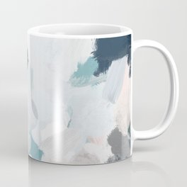 Navy Indigo Blue Blush Pink Gray Mint Abstract Air Clouds Art Sky Painting Coffee Mug
