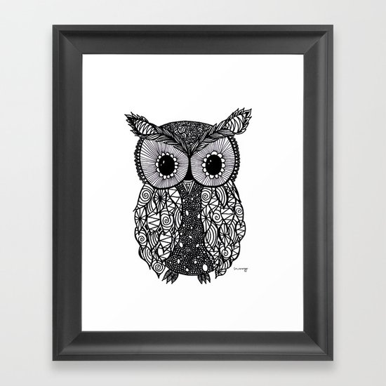 crazy owl Framed Art Print
