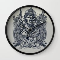 ganesh Wall Clocks featuring Ganesh by MR. VELA