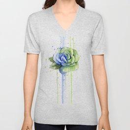Flower Rose Watercolor Painting 12th Man Art Unisex V-Neck