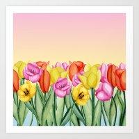 tulips Art Prints featuring Tulips by Julia Badeeva