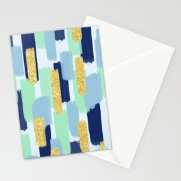 Navy and Gold Glitter Brush Strokes Stationery Cards