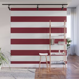 Deep Red Pear and White Wide Horizontal Cabana Tent Stripe Wall Mural