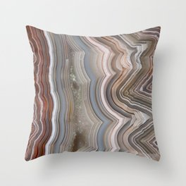 Striped Agate Crystal Throw Pillow