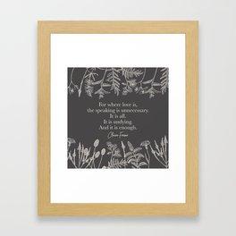For where love is... Claire Fraser. Framed Art Print