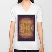 fractal V-neck T-shirts featuring Fractal by kira_komandrovskaya