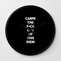 carpe Wall Clocks featuring Carpe  by Pencil Me In ™