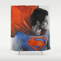 man of steel Shower Curtains featuring Man of Steel by Christine Chang