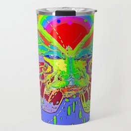 Lime Green Butterfly Face Rainbow for Kids Travel Mug