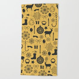Grey Christmas elements pattern On Gold Background Beach Towel