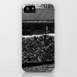 Woodcutter's hut, black and white photography iPhone Case