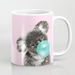 Playful Koala Bear with Bubble Gum in Pink Coffee Mug