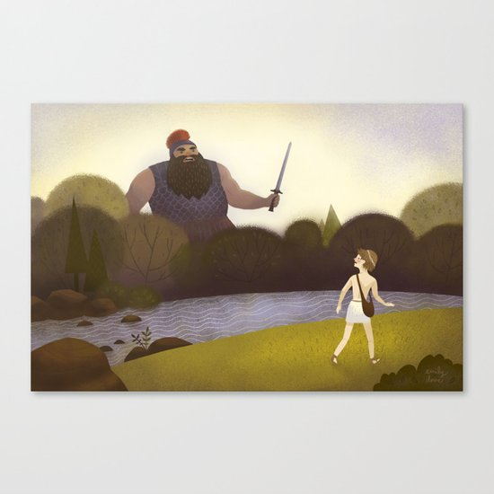 David Faces Goliath (By Emily Dove) Canvas Print