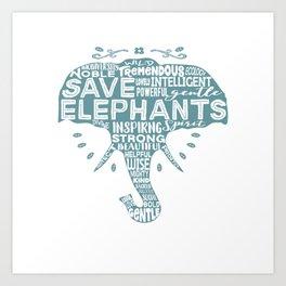 Save Elephants - Word Cloud Silhouette Art Print