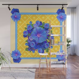 Blue Morning Glories & Gold  Patterns Art Wall Mural