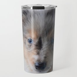 Blue-eyed Portrait of a Shetland Sheepdog Puppy Travel Mug